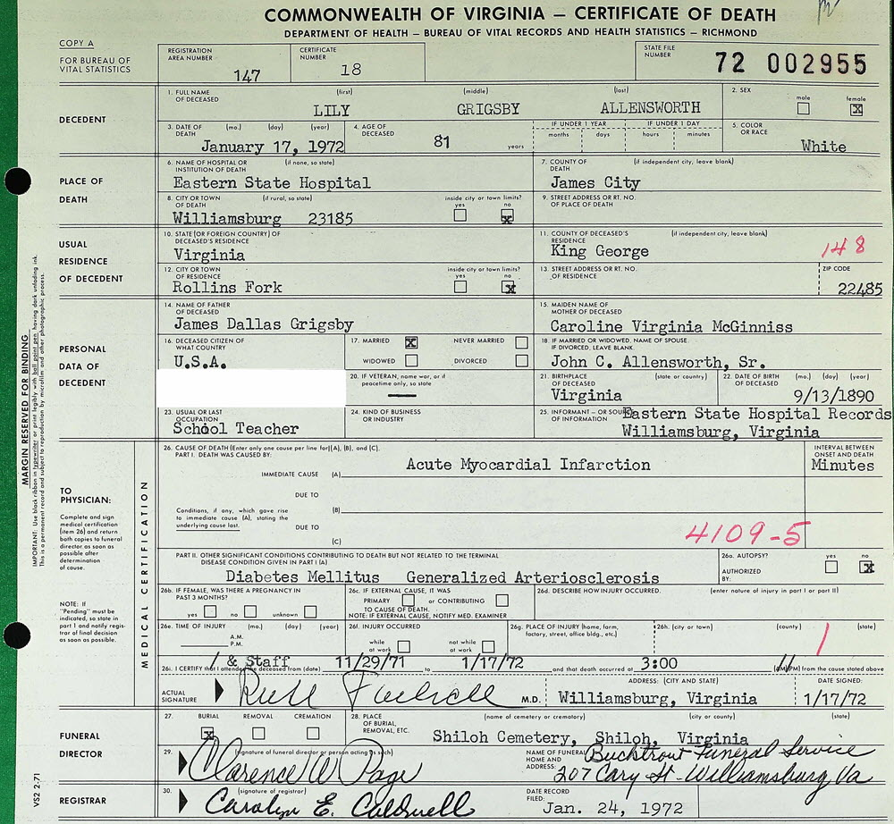 The Dishman Family Of Virginia Death Certificate Lily Grigsby